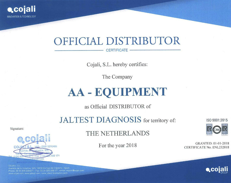 aa equipment officieel distributeur certificaat jaltest diagnostics diagnose systeem trucks